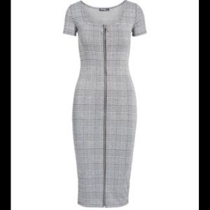 Plaid bodycon zip up dress